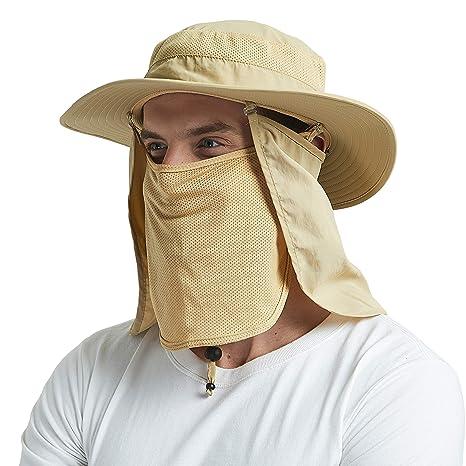 EINSKEY Cappello Pescatore Uomo Estivo Tesa Larga Safari Boonie Bucket Hat  Pieghevole Impermeabile con Protezione Collo 2a5027d95f70