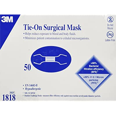 3m tie-on surgical mask blue 50 count