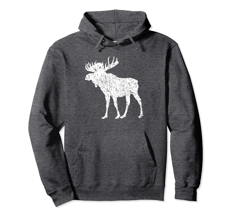 Distressed Moose Shirt Vintage Moose Silhouette Hoodie-Awarplus