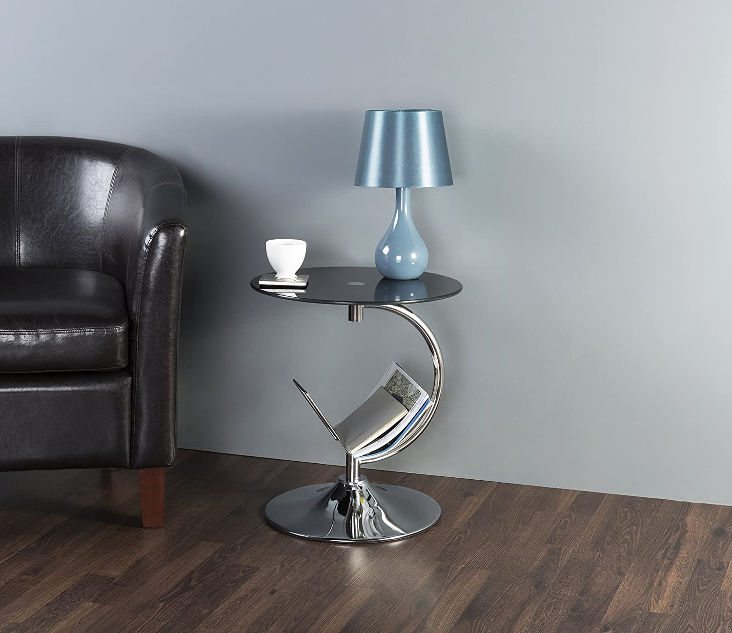 AVF T52-A Black Glass /& Chrome Two Tier Square Side Table//Lamp Table//End Table AVF INC.