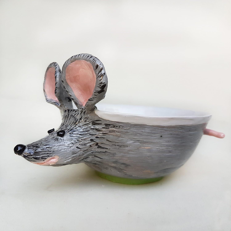 handmade bowl Cute Big Ears Mouse Ceramic Bowl Mouse Soup mug handled Hand painted Art Ceramic soup bowl cereal bowl