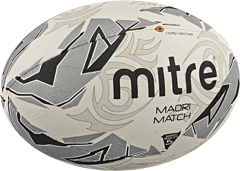 Mitre Mens Maori Match Rugby Ball - White/Silver/Black, Size 4 ...