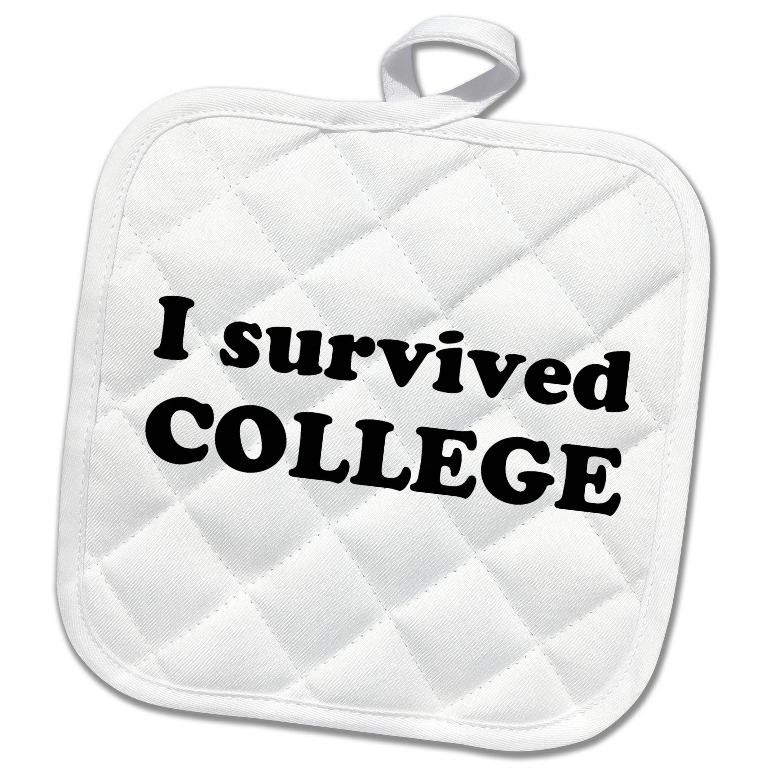 3dRose Student Humor - I Survived College Black - 8x8 Potholder (phl_274504_1)