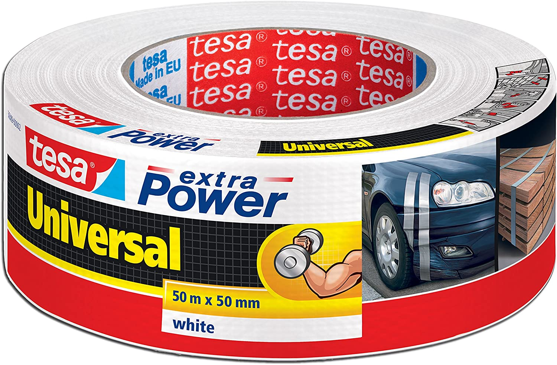 Tesa 56389/Extra Power Universal Ruban de r/éparation r/ésistante aux UV imperm/éable 4er Pack 50M x 50mm wei/ß inscriptible