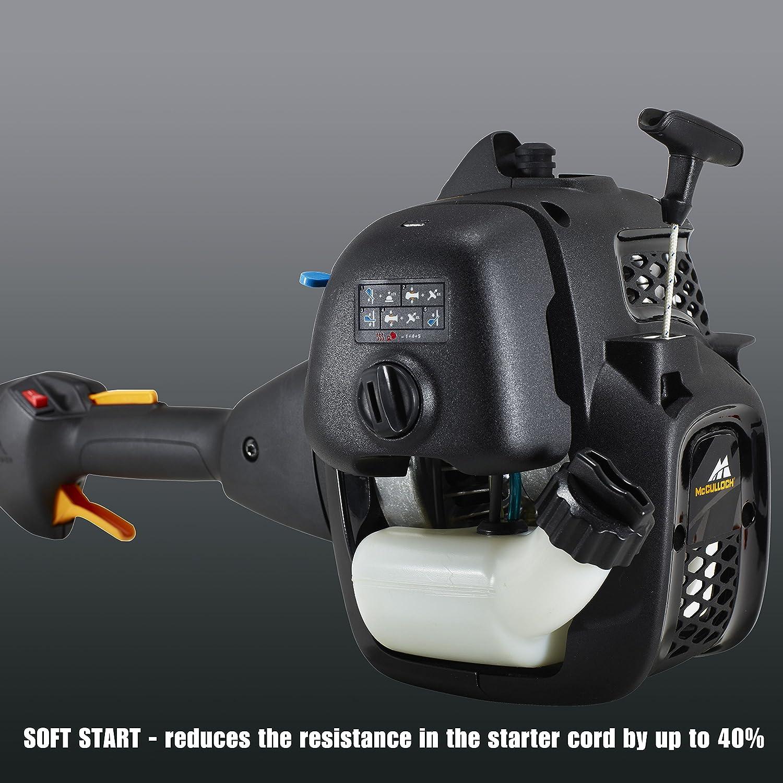 McCulloch 00096-72.078.01 B26 PS Desbrozadora con un ancho de trabajo de 40 cm, cabezal de corte, interruptor de arranque y parada automático