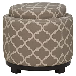 Ravenna Home Morrocan Storage Ottoman with Tray - 19 Inch, Grey and Cream