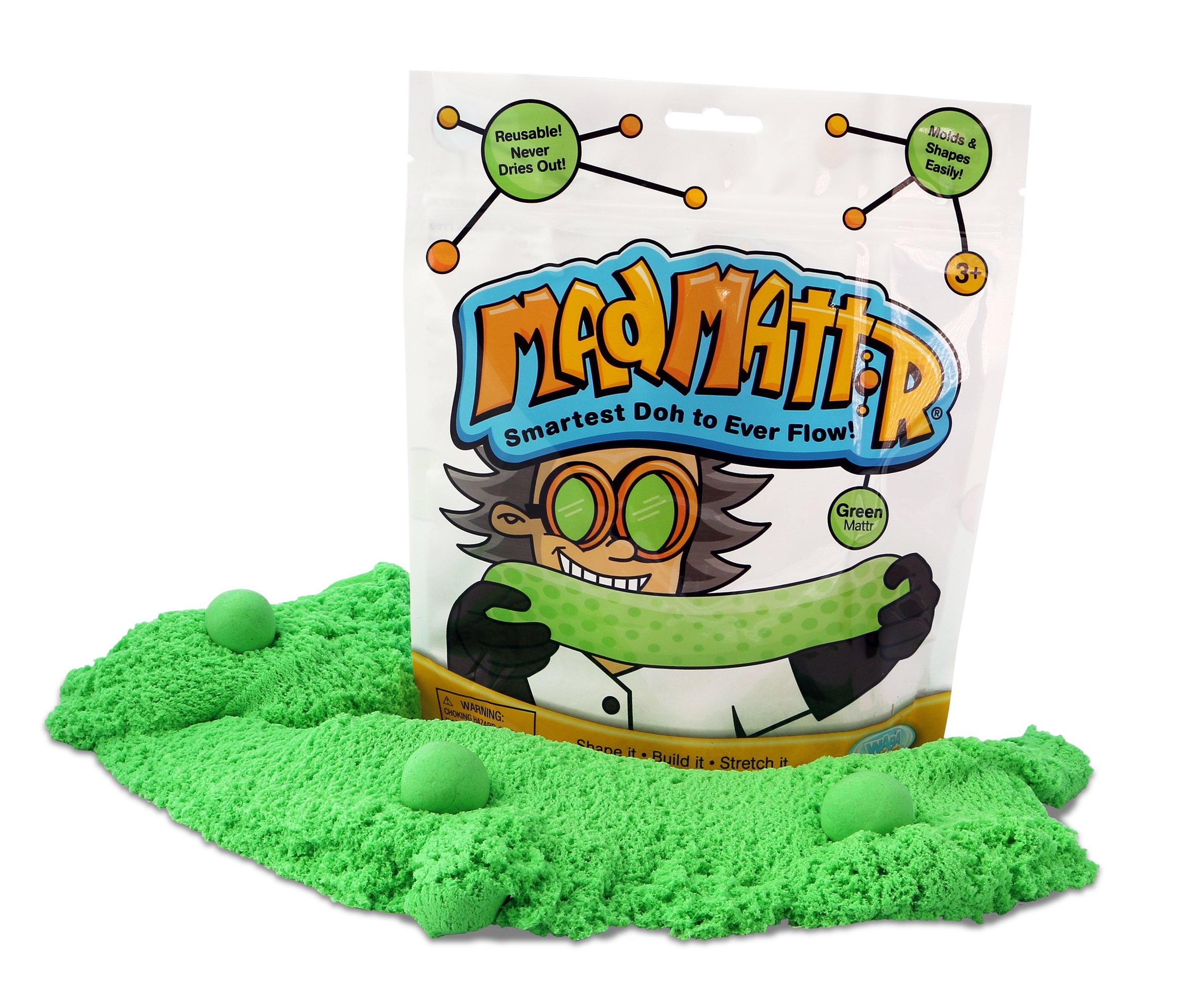 WABA Fun Mad Mattr Super-Soft Modelling Dough Compound that Never Dries Out, 10 Ounces, Green