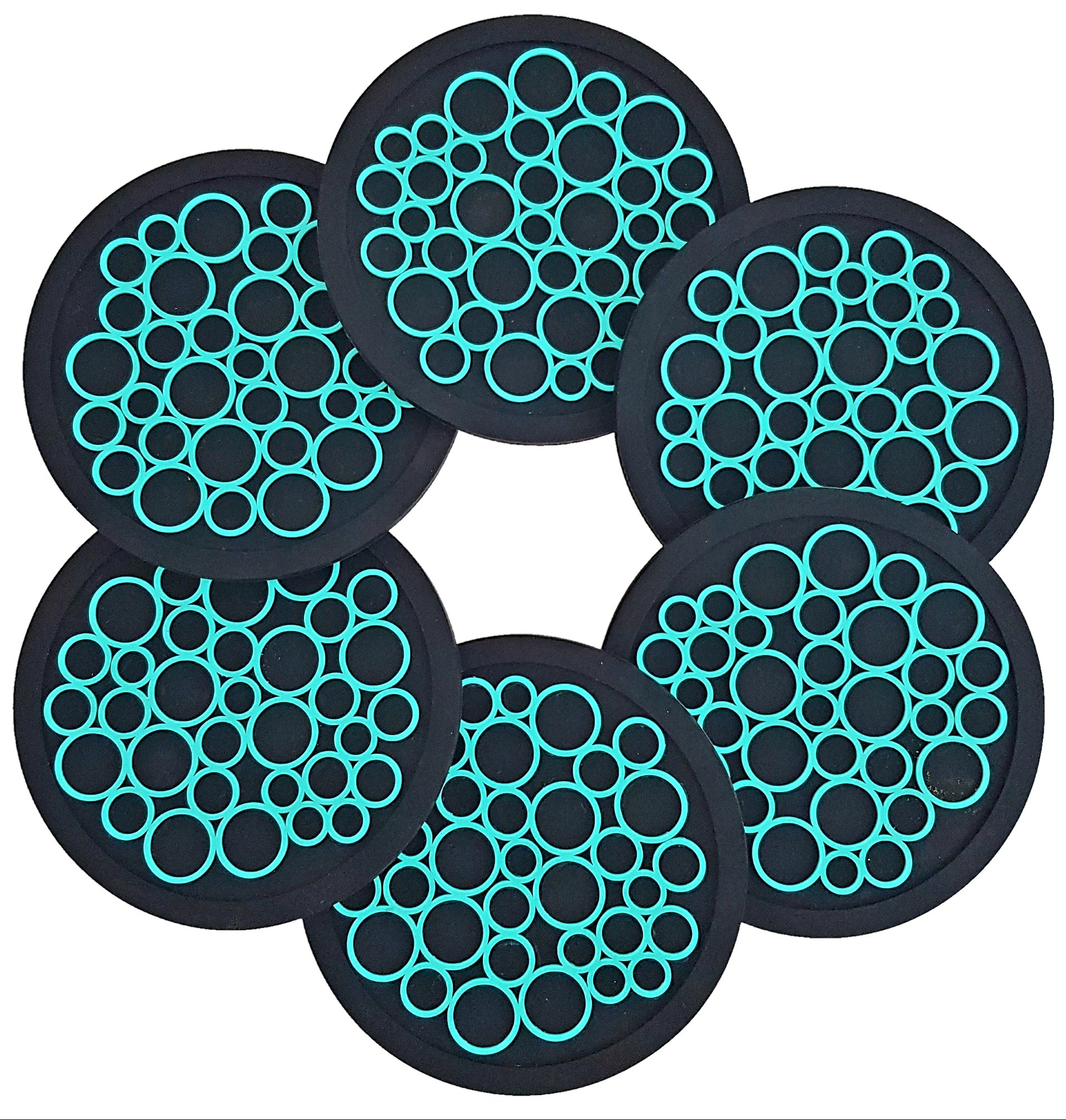 Unique Design Coasters, Set of 6 | Food Grade Silicone, Large Tough Grip, No Slip | Perfect for Hot & Cold Drinks | Child Proof | Protects Furniture (Black & Teal)