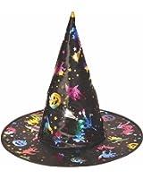 Rubie's Women's Black Foil Print Witch Hat, Rainbow, One Size