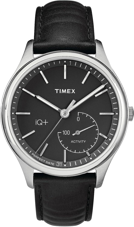 CDM product Timex Men's TW2P93200L3 Fashion IQ+ Move Black Dial with Black Leather Strap Watch big image