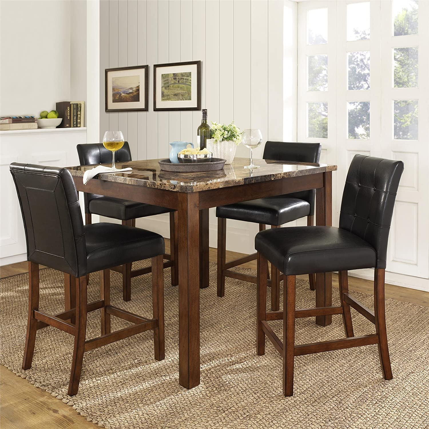 Amazon Dorel Living Andover Faux Marble Counter Height Dining Set Brown Kitchen