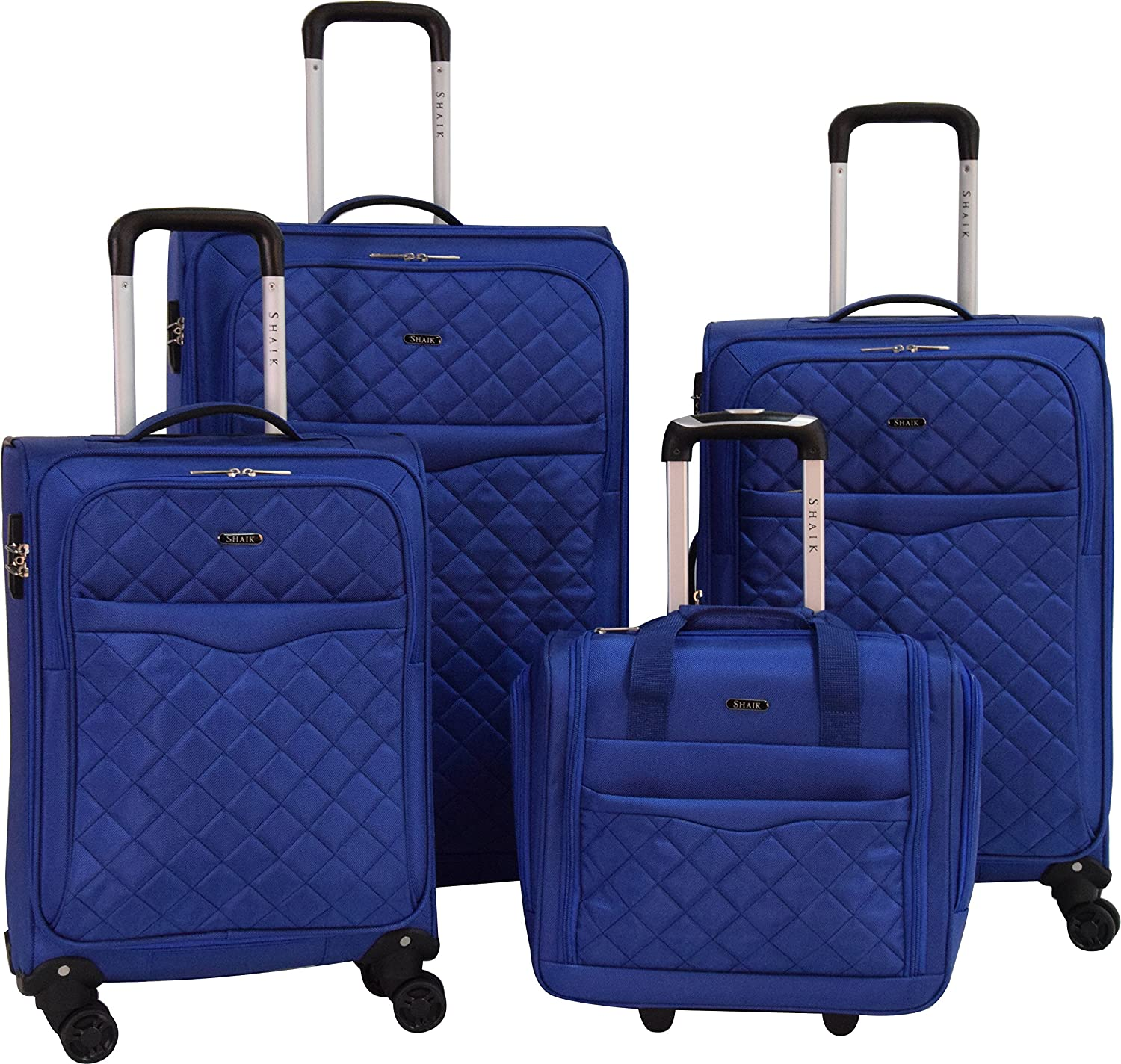 3 Available Colors Set, Blue 4-Piece Set Heavy-Duty TSA Security Locks SHAIK/® Series Manchester Rolling Travel Luggage Soft Side Suitcase and Carry On with Wheels Trendy Lightweight