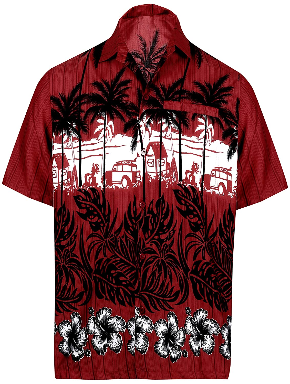 TALLA XS - Pecho Contorno (in cms) : 91 - 96. LA LEELA botón Hombre Bolsillo Manga Corta Camisa Hawaiana