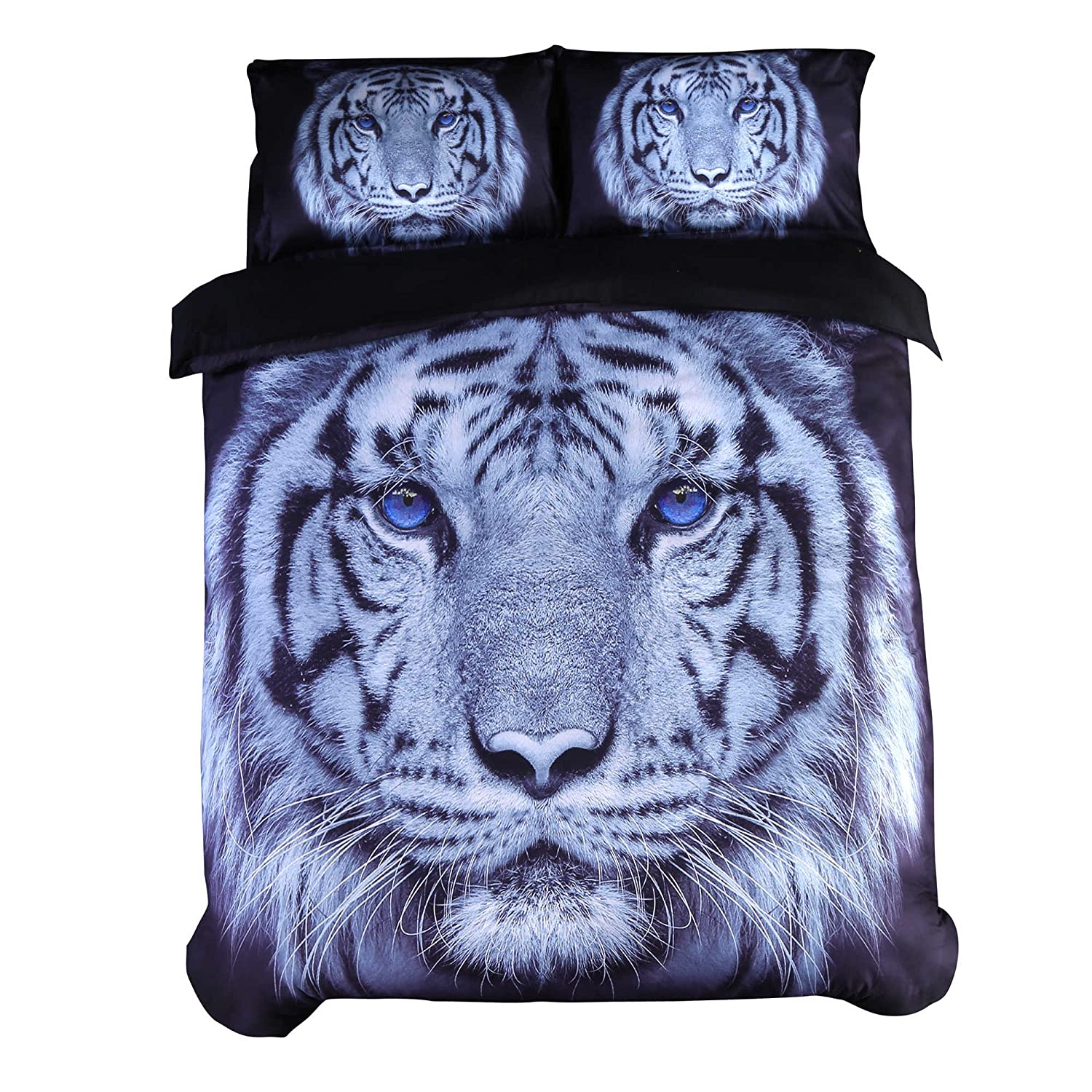 ENCOFT 3D Tiger Bedding Large Tiger Head with Blue Eyes Printed 4 Pieces Duvet Cover Set, Cotton Tencel Blend Black Bedding (Queen)
