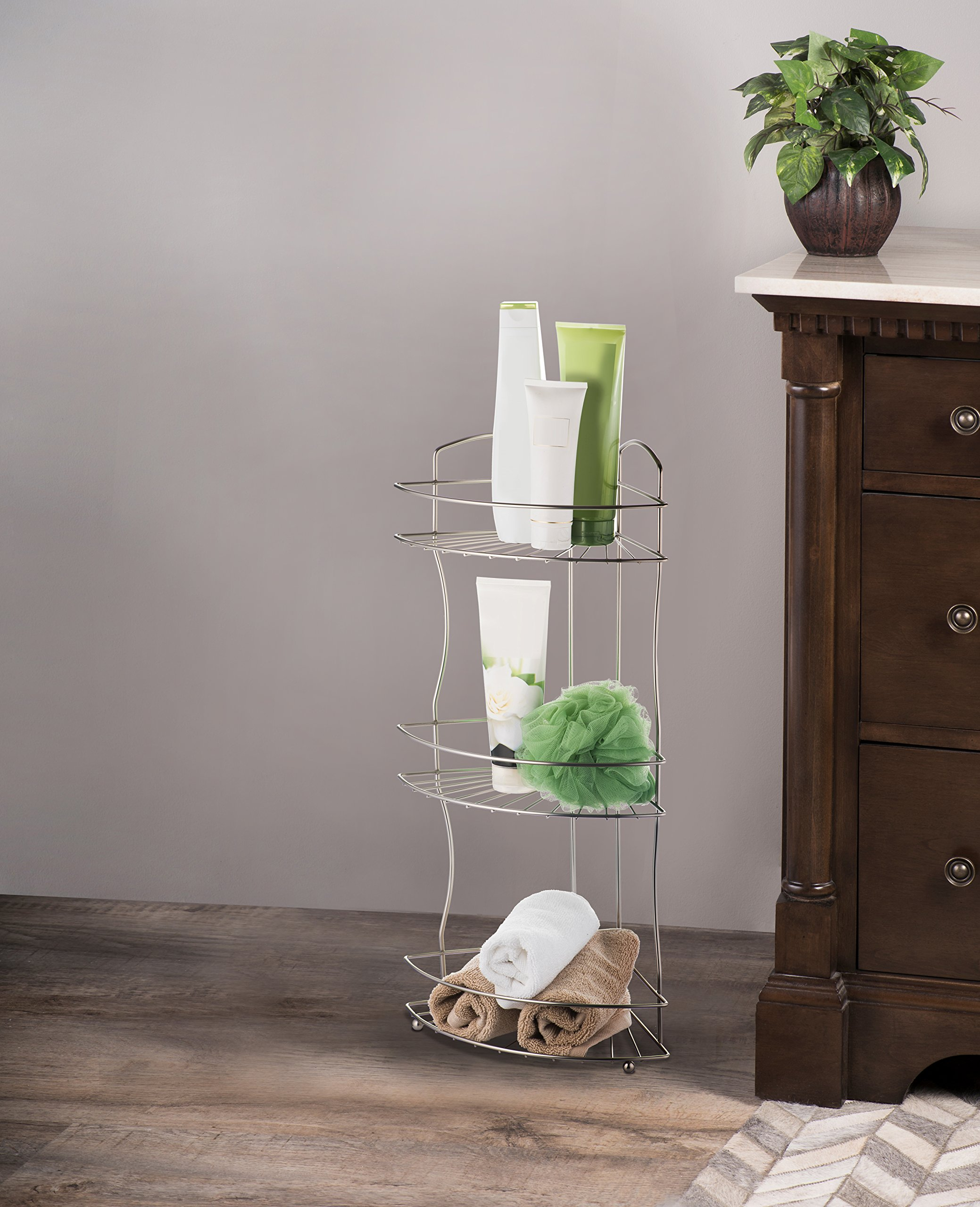 AMG and Enchante Accessories Free Standing Bathroom Spa Tower Floor Caddy, FC232-A SNI, Satin Nickel by AMG (Image #2)