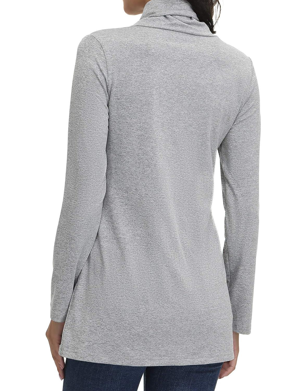 SATINIOR Womens Long Sleeve Half Zip Sweatshirt Cowl Neck Tops Casual Pullover Sporty Sweatshirt