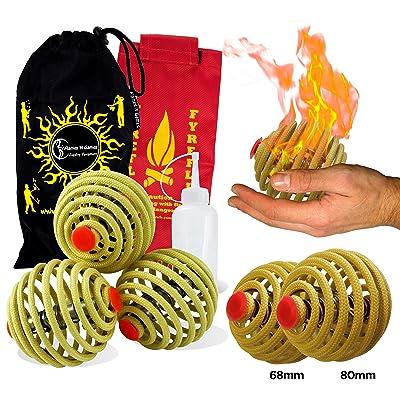 Fyrefli fire Juggling Balls (80mm) Pro Fire Juggling Ball Set of 3 and Fuel Bottle + Travel Bag.: Toys & Games