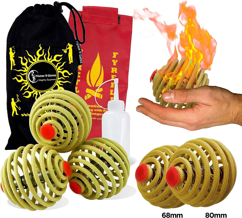 Fyrefli Fire Balles de jonglage/ /80/mm//gratuit Sac et bouteille de carburant