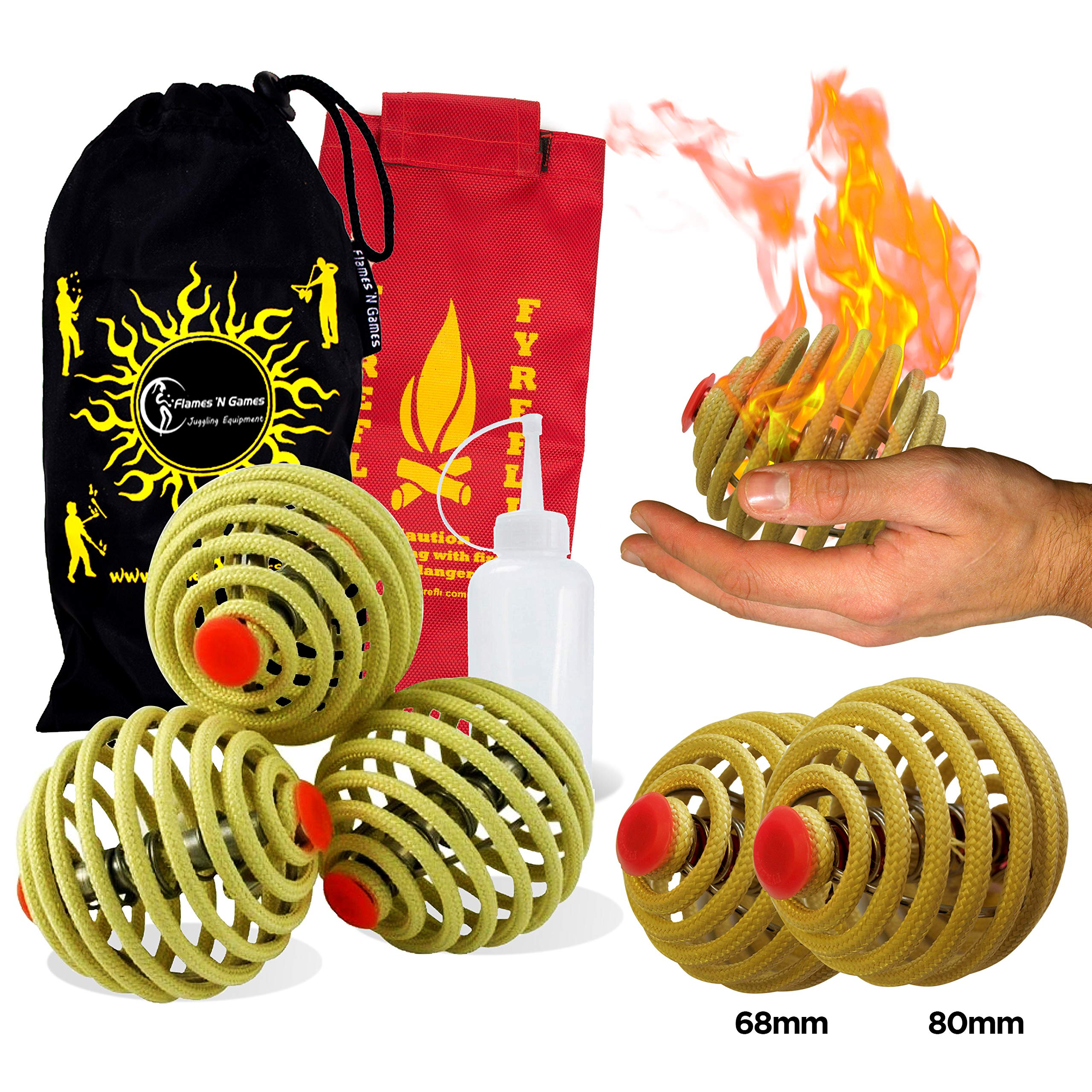 Fyrefli fire juggling balls (68mm) Pro Fire Juggling Ball Set of 3 and fuel bottle + Flames N Games Travel Bag. by Flames N Games Juggling Ball Sets