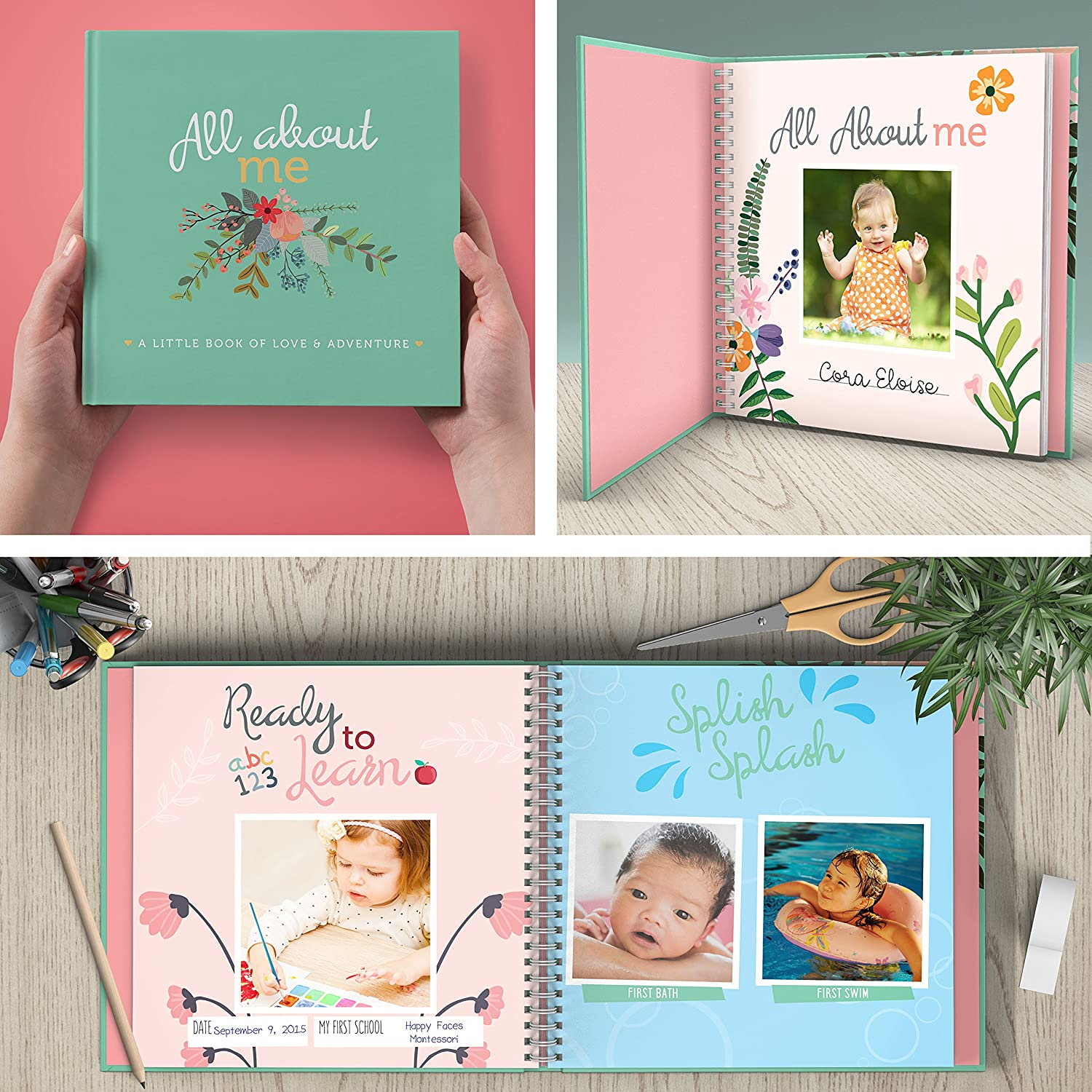 Amazon first year baby memory book baby journal modern baby amazon first year baby memory book baby journal modern baby shower gift keepsake for new parents to record photos milestones solutioingenieria Gallery