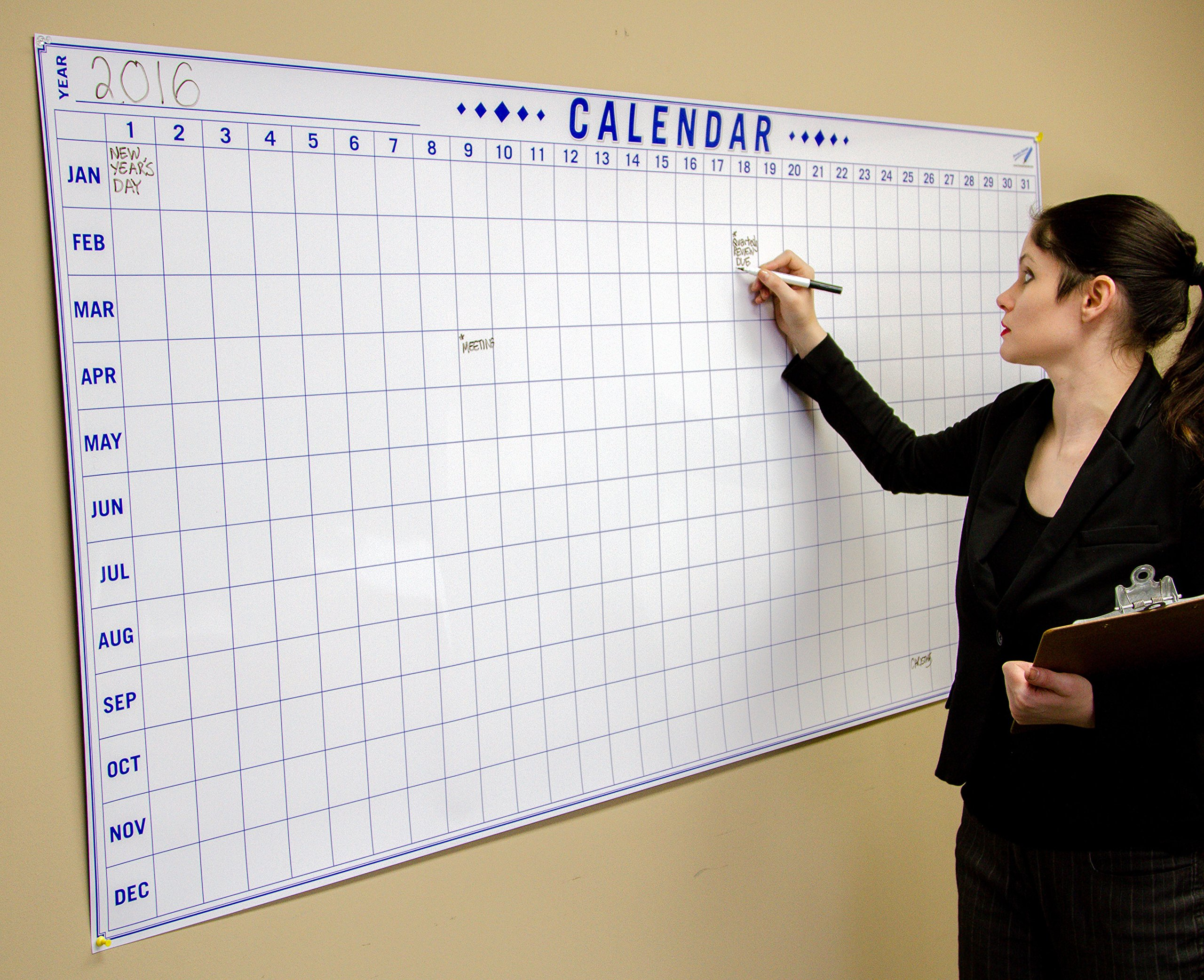Dry Erase Julian Date Calendar - 36 x 72 Large Dry Erase Wall Calendar - Large Wall Calendar - Reusable Annual Calendar - Wall Planner with Vertical Dates and Horizontal Months by Oversize Planner by ABI Digital Solutions (Image #3)