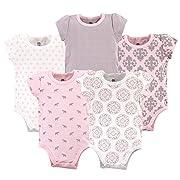 Yoga Sprout Unisex Baby Cotton Bodysuits, Boho Elephants 5Pk Short Sleeve, 6-9 Months (9M)