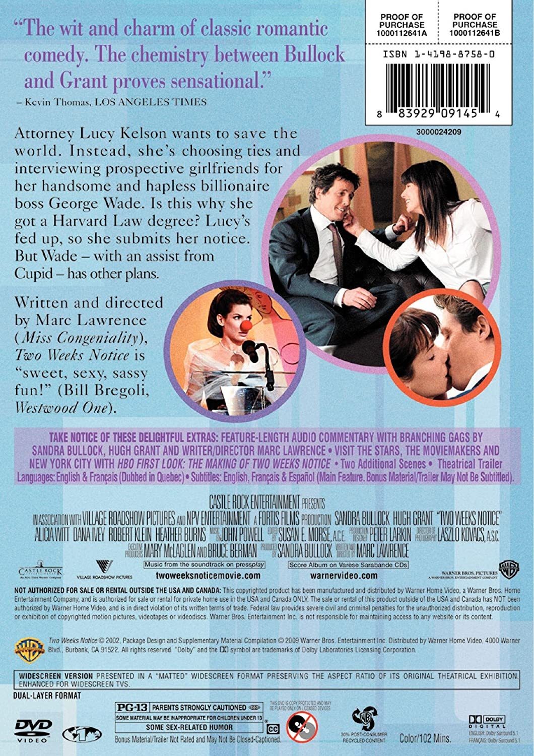 Two Weeks Notice Amazon Ca Dvd