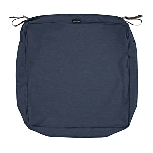 Classic Accessories Montlake Patio Seat Cushion Slip Cover, Heather Indigo, 25x25x5
