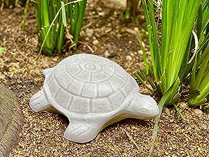 Elly Décor Turtle Garden Statue Lawn décor, 13-inch Art Sculpture for Your Patio & Yard, Tortoise Figure Color Gray Cement