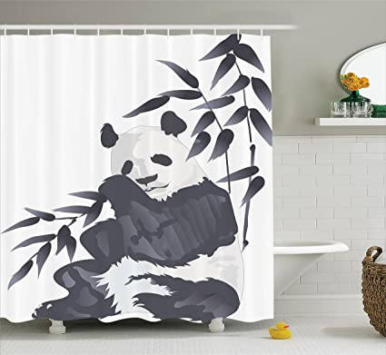 Ambesonne Animal Decor Shower Curtain Giant Panda Bear Sitting In Zoo Traditional Chinese Painting Style