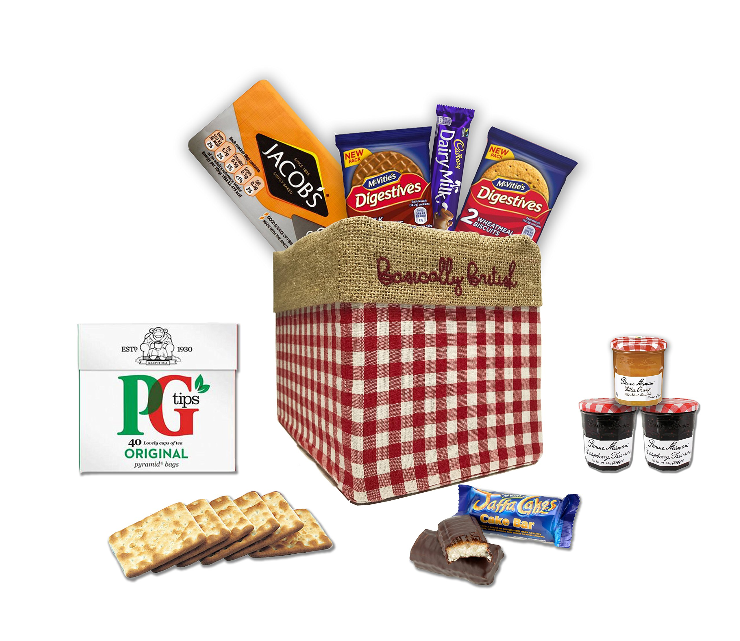 The Great British Gift Box by The Yummy Palette   PG tips tea bags Jacob's crackers Digestives Cadbury Dairy Milk Jaffa Cakes in Basically British Gift Box