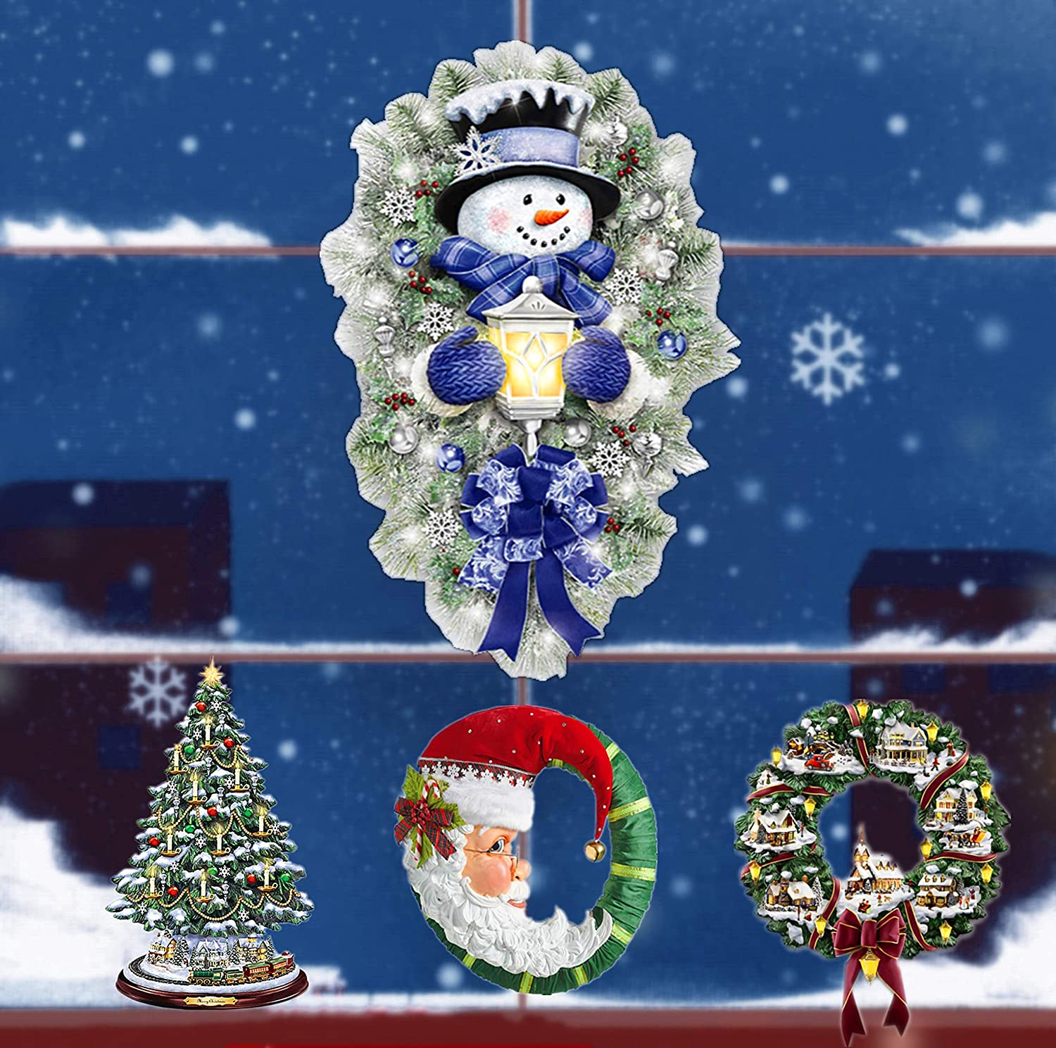 MINICOO Christmas Windows Clings,Santa Claus Snowman Christmas Tree Garland Stickers,4 pcs Window Stickers Decals for Home Office Indoor Decorations (3#)…