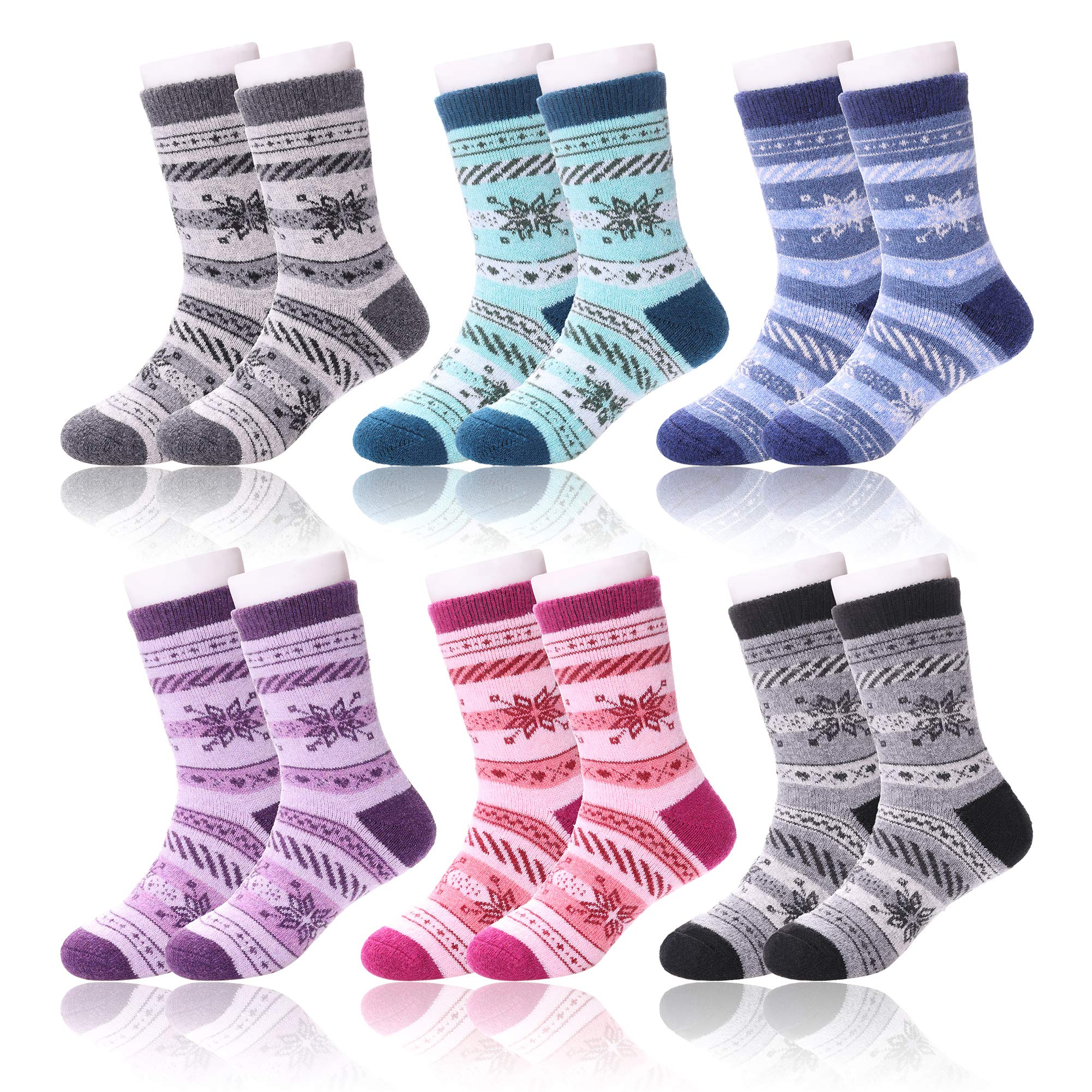LANLEO 6 Pairs Childrens Winter Thick Warm Wool Socks Kids Boys Girls Cute Animal Crew Socks