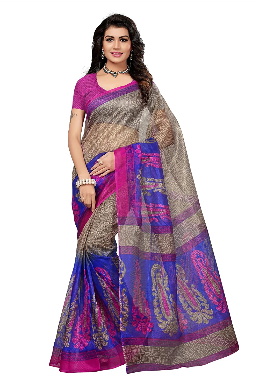 Fabwomen Printed Cotton Art Silk Saree With Blouse Piece