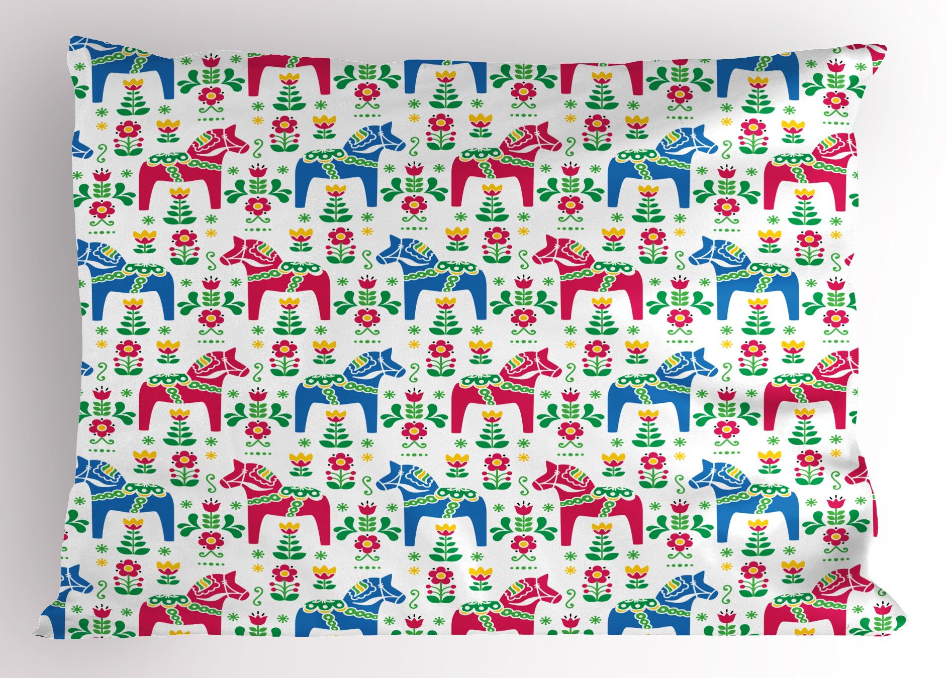 Ambesonne Horses Pillow Sham, Classic Swedish Dalecarlian Coral Azure Blue Animals and Green Floral Arrangement, Decorative Standard Queen Size Printed Pillowcase, 30 X 20 inches, Multicolor
