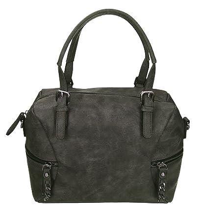 Betz sac à main pour femme PARIS 2 en cuir synthétique avec fermeture éclair, bandoulière et deux anses couleur gris