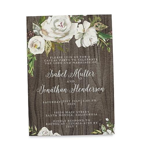 rustic custom elopement reception invitation cards personalized