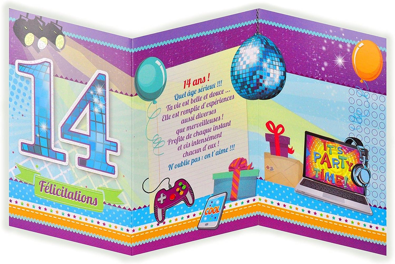 Afie 882115 Carte 3 Volets Joyeux Anniversaire 14 Ans Amazon Fr Fournitures De Bureau