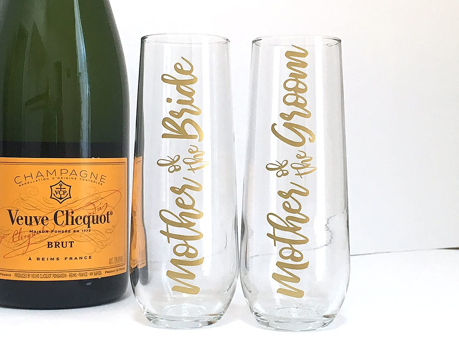 Script Mother of the Bride and Groom Champagne Flutes - Wedding Toast Glasses - Set of 2