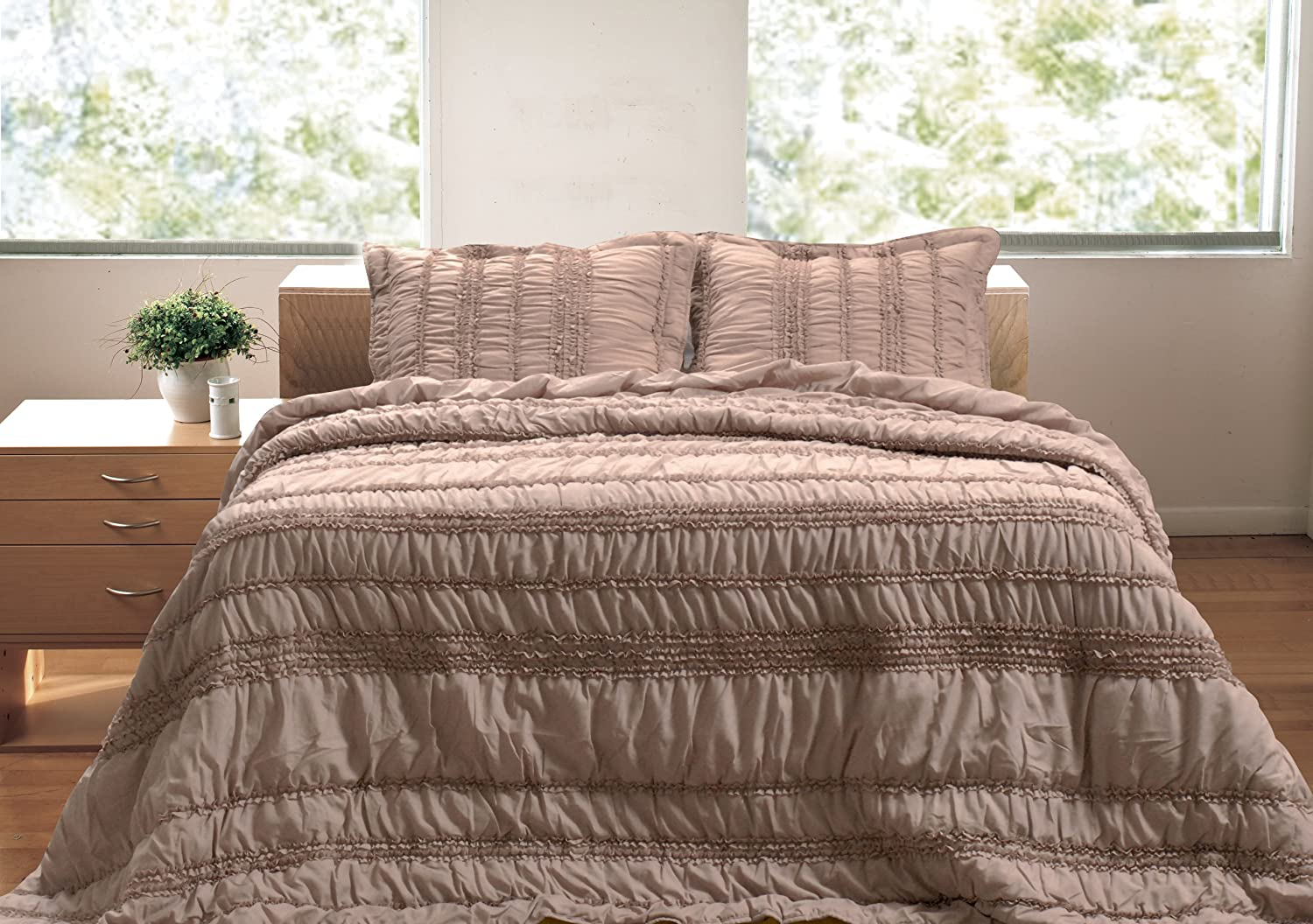 Greenland Home 2-Piece Tiana Quilt Set, Twin, Taupe