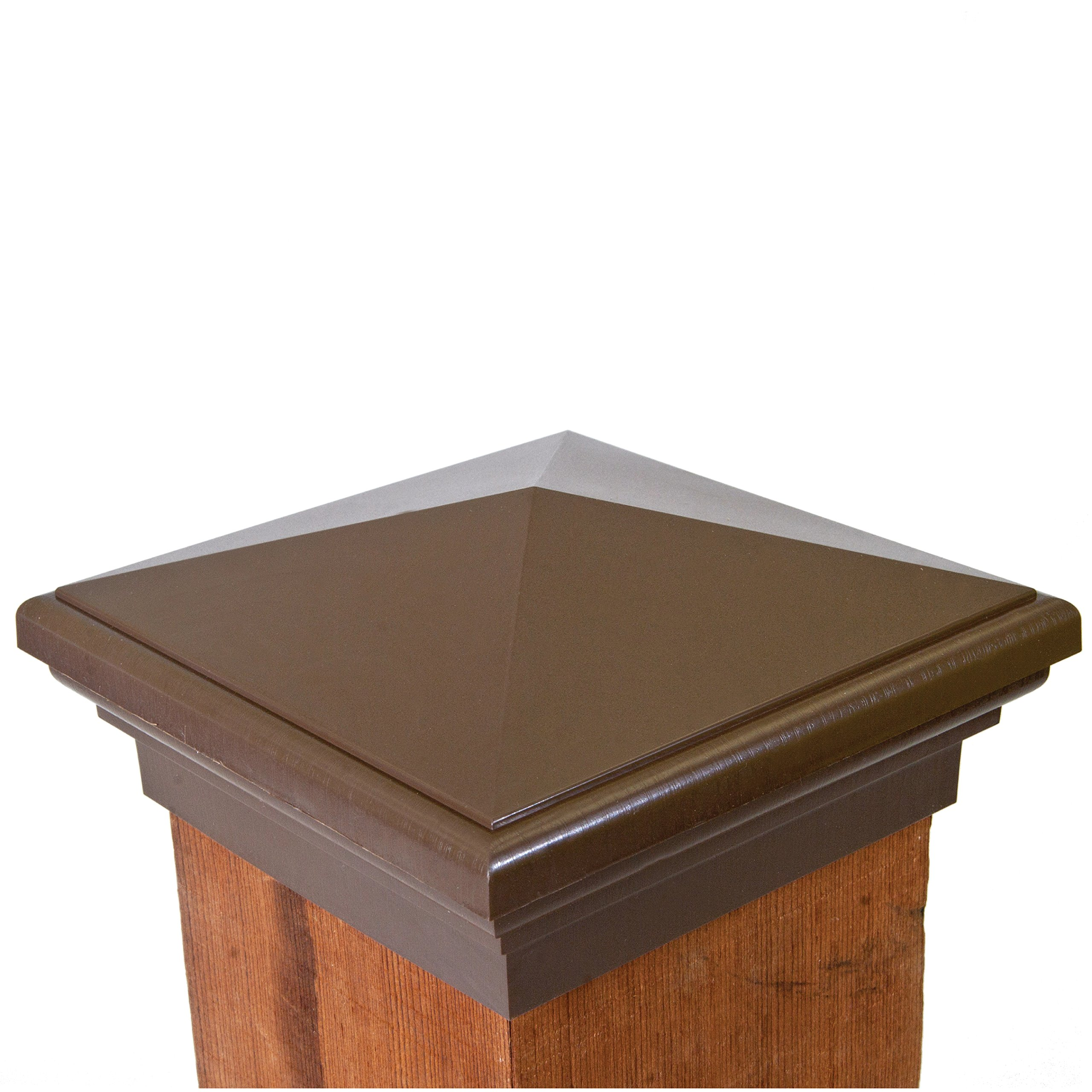 Atlanta Post Caps 6x6 Post Cap | Mocha Brown New England Pyramid Style Square Top for Outdoor Fences, Mailboxes & Decks
