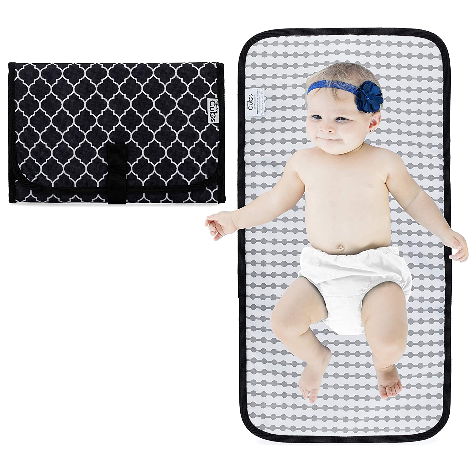 Baby Portable Changing Pad, Diaper Bag, Travel Mat Station, Grey Compact Comfy Cubs