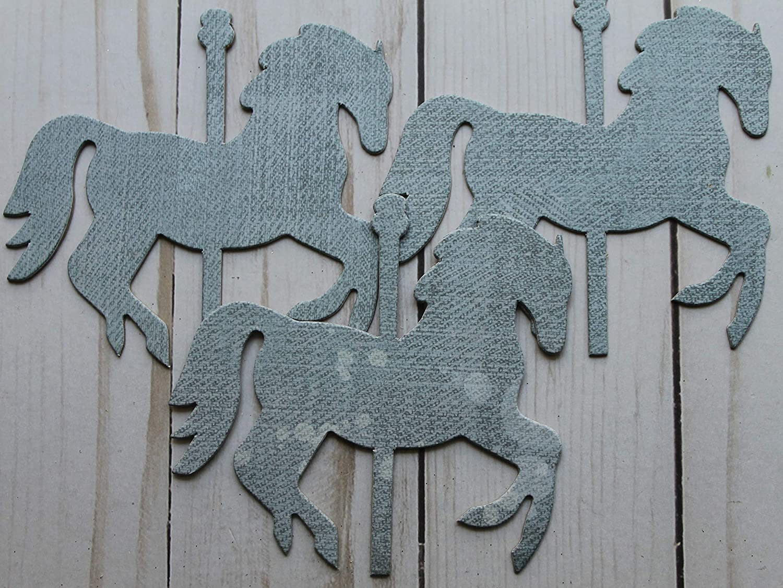 12 Carousel HORSES denim hearts /& silver glittered chipboard die cuts 4 x 3 3//8