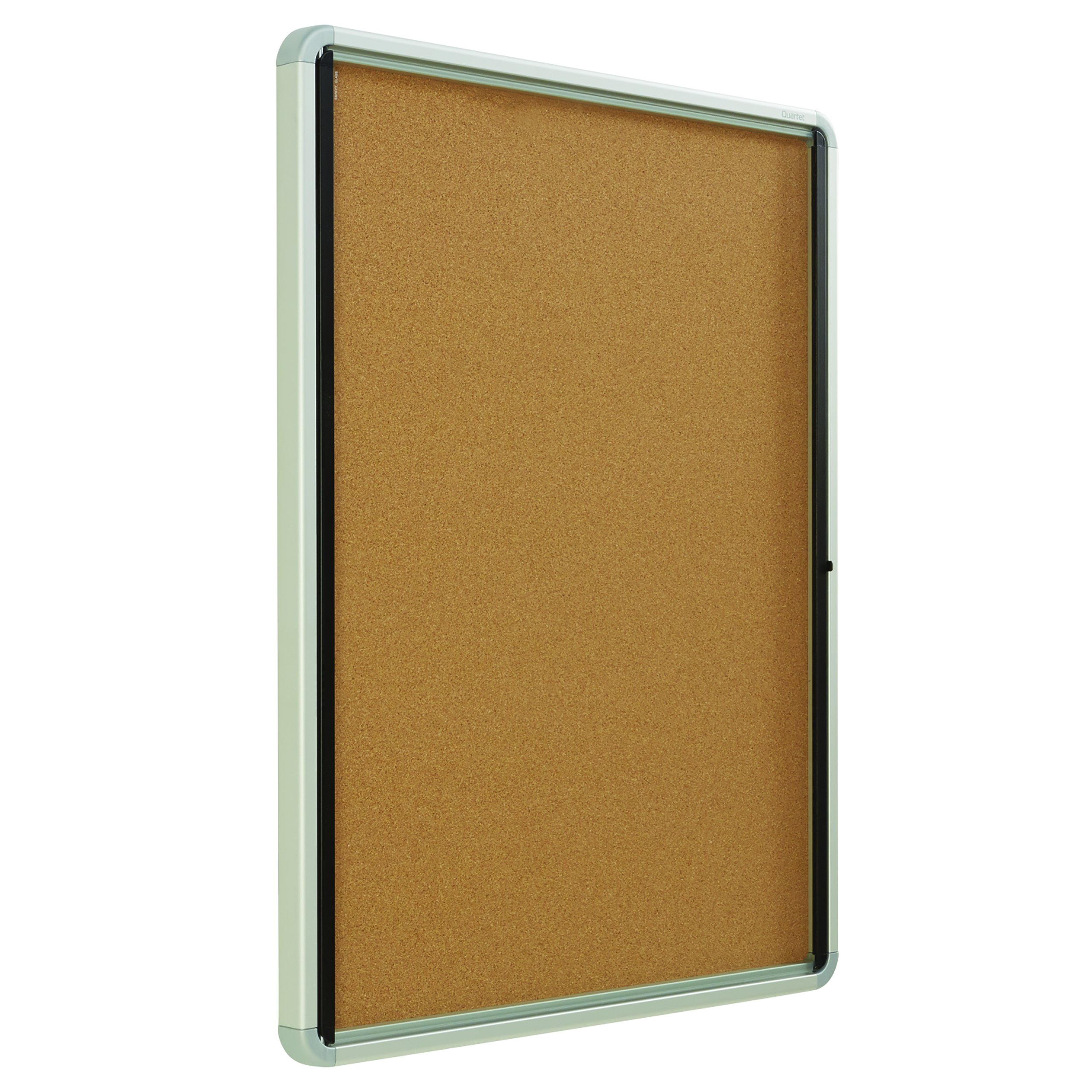 Quartet Enclosed Cork Bulletin Board, 30'' x 39'' or 9 Sheets, Swing Door, Aluminum Frame (EIHC3930)