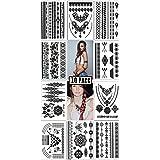 Fake Temporary Tattoos - Semi Permanent, Metallic, Henna Tattoo | 10 sheets & 100+ designs | Boho Glitter Festival Accessories Stickers | Fits Men, Women & Kids by SoJourner