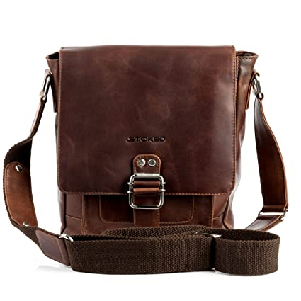583b3f1be31f STOKED small cross-body bag - messenger NATHAN Vintage-Look - shoulder bag  brown-cognac leather  Amazon.co.uk  Luggage