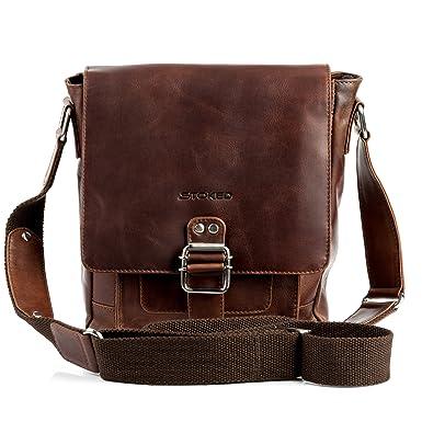 382d0b99c STOKED Bolso bandolera NATHAN - piel genuina marrón - cartera cruzado con  asa para el hombro