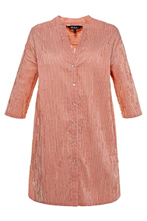 f3819f40471 Ulla Popken Women s Plus Size Mandarin Collar Textured Stripe Tunic Henna  Stripe 12 14 715122