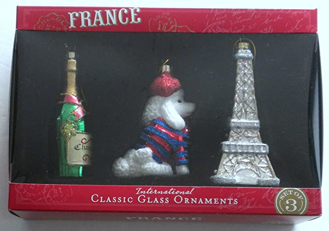 NEW Set Of 3 Classic Glass International Christmas Ornament FRANCE ...
