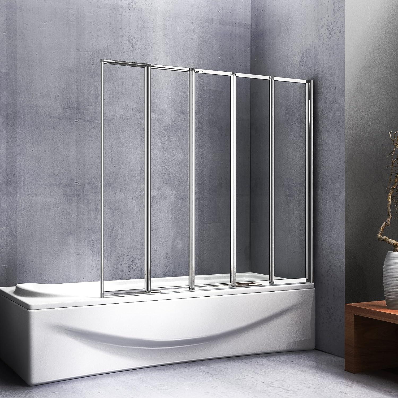 Mampara de ducha de 120 x 140 cm para bañera, 5 partes retráctiles y plegables, puerta de bañera pivotante 180 °: Amazon.es: Bricolaje y herramientas